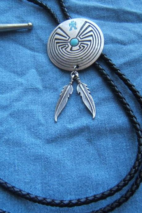 Man in Maze Bolo Tie with Feathers, Silver Bolo Tie, #80057-2