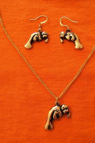 Sea Lion Necklace and Earring Set, Gold Plated, Sea Life Jewelry, #80098-1