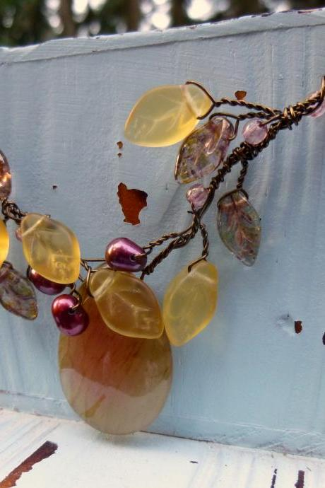 Twisted Wire Soocho Jade and Autumn Leaf Jewelry