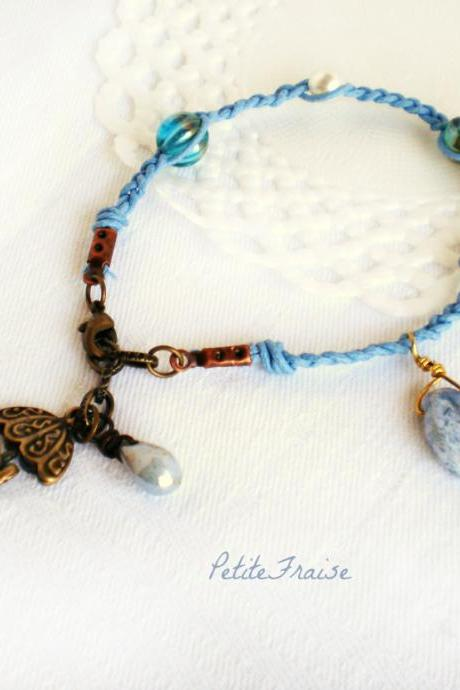 On a rainy morning, umbrella friendship bracelet in dusty blue, Autumn