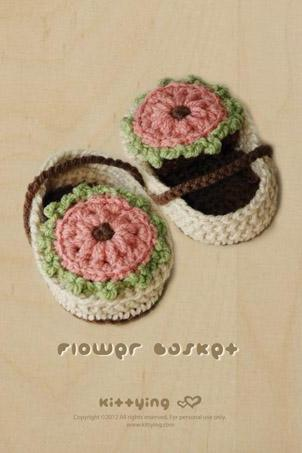 Flower Basket Booties Crochet PATTERN, SYMBOL DIAGRAM (pdf) by kittying