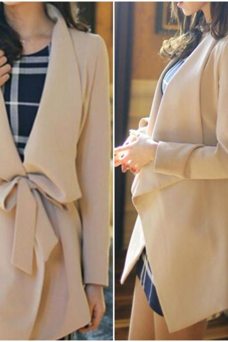 Chic Apricot Blazer With Belt