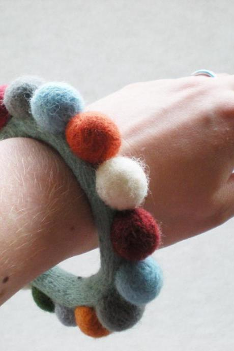 Felt Ball Bracelet - Multicoloured Needle Felted Bangle