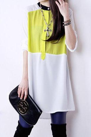 Contrast Color Long Sleeve Button Down Chiffon Shift Dress