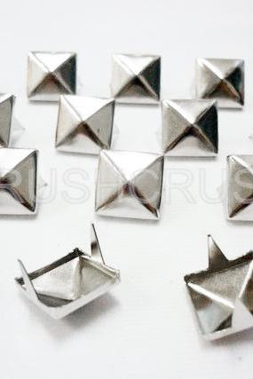 100pcs 8mm Pyramid Studs Silver Punk ROCK Biker S108