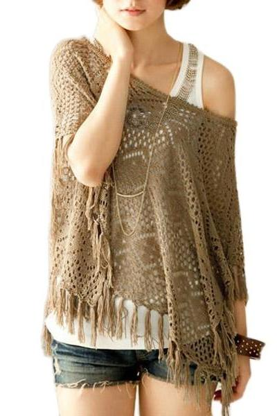 New Fashion Korea Style Women'S Sweater A Word Is Gotten Hollow Out Tassel Tassel Sweater Top
