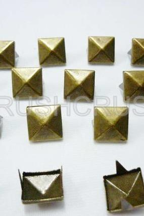 100x11mm Brass Pyramid Studs Metal Punk rock Biker Spikes spots Heavy Duty DIY S211