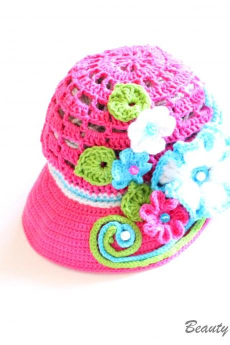 Crochet Newsboy Hat Pattern, Crochet Newsboy Visor Beanie Pattern, Crochet Hat Pattern with Flowers, Crochet Summer Hat Pattern