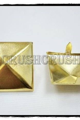 10pcs 25mm GOLD PYRAMID Studs Goth Biker Studded Leather Craft S325