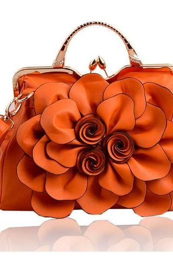 Orange Purse Orange Shoulder Bag Fashion Show Big Flower Handbags for Women Leather Bags