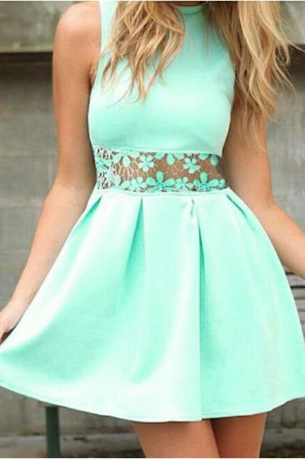 Sweet Lace High-Necked Sleeveless Green Dress