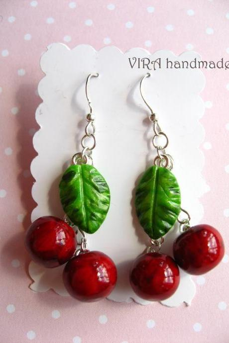 Cute realistic cherry earrings