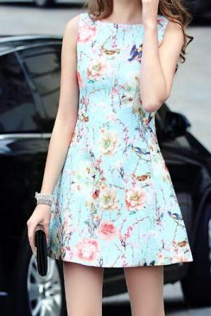 The New Fashion Printed Sleeveless Dress