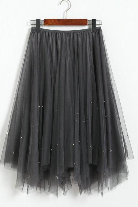 New Autumn Fashion Beaded Irregular Gauze Hgh Waist Skirt