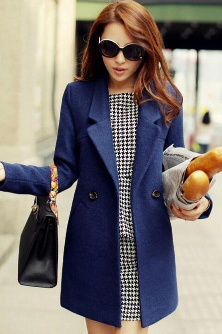 Gorgeous Dark Blue Woolen Winter Coat