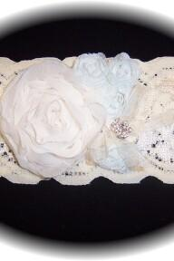 Ivory and Light Blue Lace Garter 503