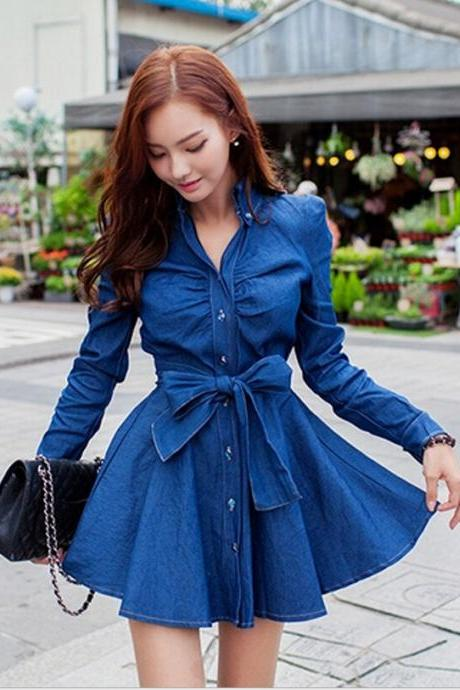 Fashion long-sleeved denim dress GZ318947