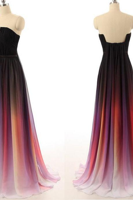 Elegant most popular rainbow chiffon dress,A line floor length long evening dress,formal prom dress,homecoming dress,graduation dress