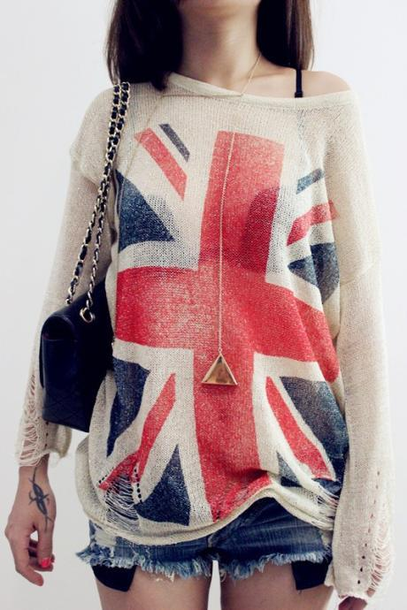 British Flag Loose Knit Sweater Pullover Blouse Hollow