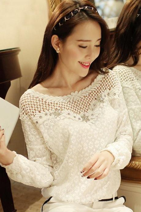 Hollow Out Lace Chiffon Shirt