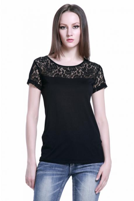 Ladies round neck lace Leisure T-Shirt
