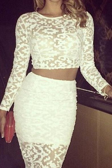 Hot lace two piece elegant dress