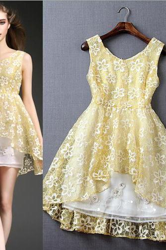 Fashion Small Sweet Wind Embroidery Beads Sequins Order Dress