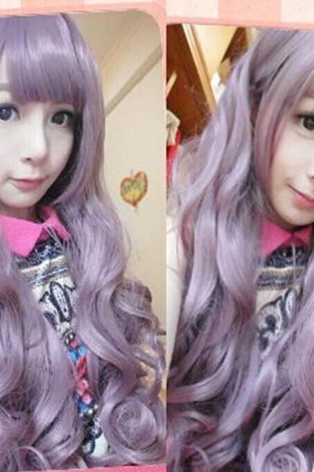 Mego lolita Harajuku Gradient Purple Curly Wig