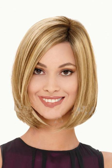 Very pretty color Elegant cut Women Short Synthetic Hair wig Side Parting BOBO Bob Haircut