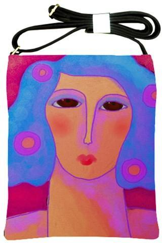 Abstract Art Handbag Printed with My Funky Abstract Portrait of a Woman with Blue Hair