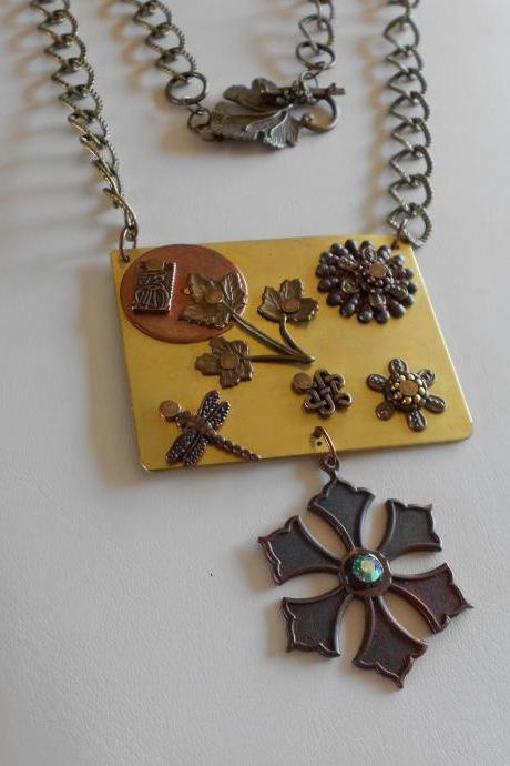 Handmade Riveted Brass and Copper Necklace