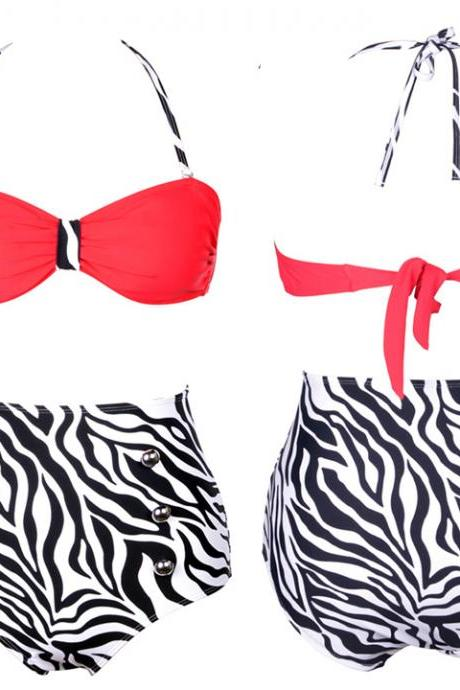 Women's High Waist Bikini Swimwear Sexy Swimsuits Zebra-strip Sexy Cutest Retro Push Up Bikini Set