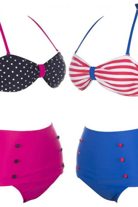 Women's Retro Vintage Swimsuits Swimwear Bandeau High Waisted Bikini Set