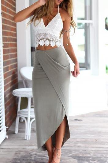 Sexy Lace Spaghetti Strap Top and Asymmetric Maxi Skirt