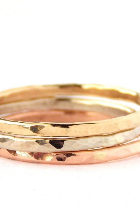 3 Gold Reflection Rings: 14K gold, dainty ring, simple ring, gold ring, rose gold, white gold, yellow gold, hammered ring, skinny ring