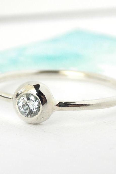 ONE Birthstone Pebble Stacking Ring: sterling silver birthstone ring, stacking ring, birthstone ring, pebble ring, simple ring, mother ring