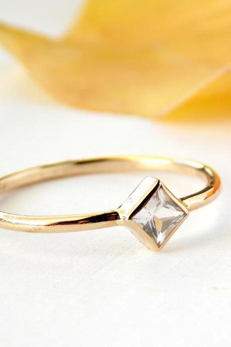 Princess Cut Engagement Ring: 14K Solid Gold ring, white topaz ring, simple ring, gold ring, wedding ring, engagement ring