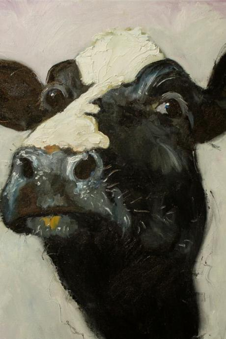 Cow painting 509 18x18' original oil painting by Roz