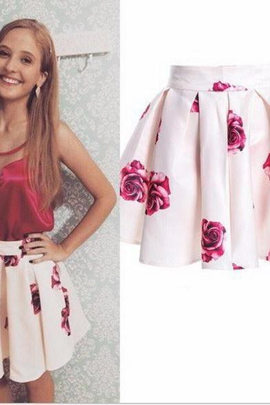 Rose Print High Rise Short Ruffled Skater Skirt