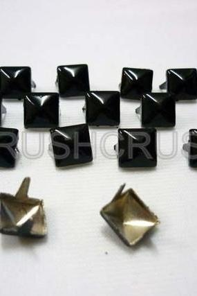 50pcs 8mm BLACK Pyramid STUDS Goth Biker Studded Leather Craft S049