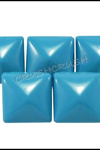 50x8mm BLUE Pyramid Studs Spots Spikes Punk ROCK S1508