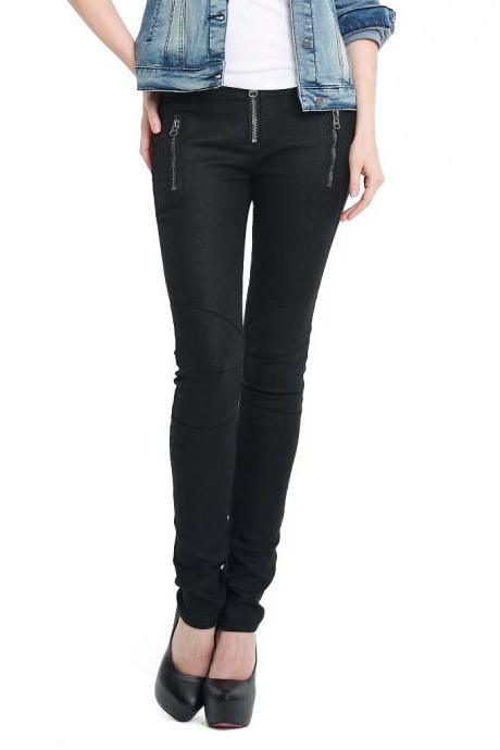 Black Slacks Feet Zipper Pants Ladies Pu Coating Section Trousers