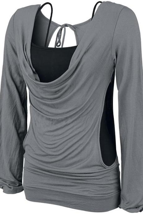 Ladies 2 Piece Set Loose Leisure Long Sleeve T - Shirt