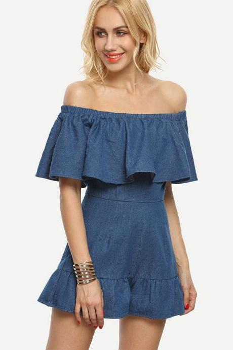 Fashion Denim Off The Shoulder Rompers for Summer