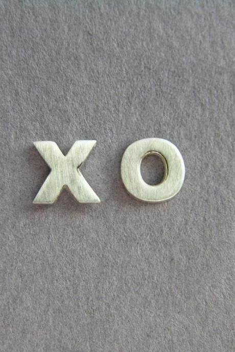 XO Studs - sterling silver earrings - hugs and Kisses - Gift For Her