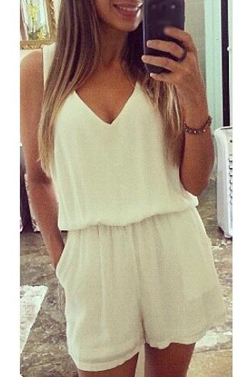 Sexy Hollow Back V Neck White Chiffon Romper