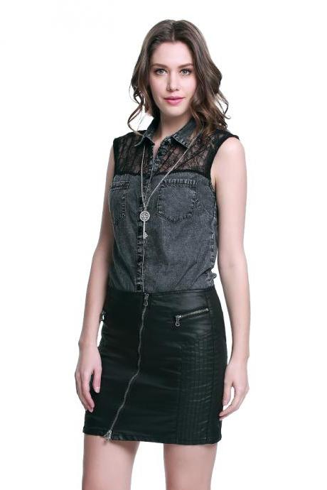 Ladies Sleeveless Denim Lace Shirt