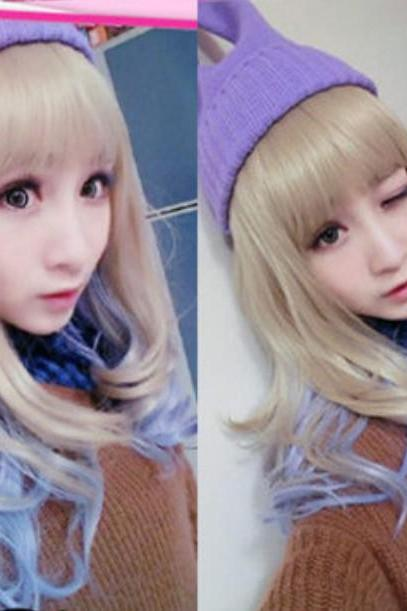 Harajuku gradient color Female Long Hair Fluffy Oblique Bang graded frowsty Wigs