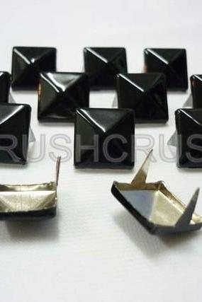 50x13mm Black Pyramid Studs Metal Punk ROCK Biker Spikes spots Heavy Duty DIY S613
