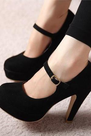 Mary Jane Black High Heels